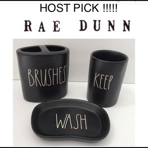 🆕 🖤 🎉HP🎉New Rae Dunn Black Collection 3pc Set